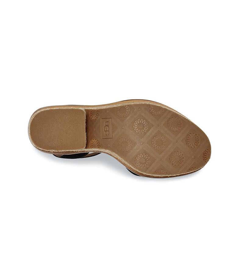 UGG Sandales en cuir noir Laynce - Hauteur du talon : 10,16 cm