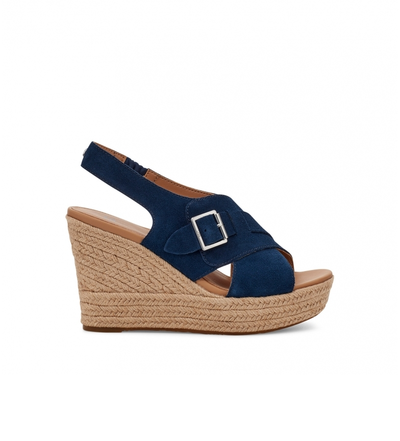 Comprar UGG Claudeene navy leather sandals -Height of the wedge: 9cm