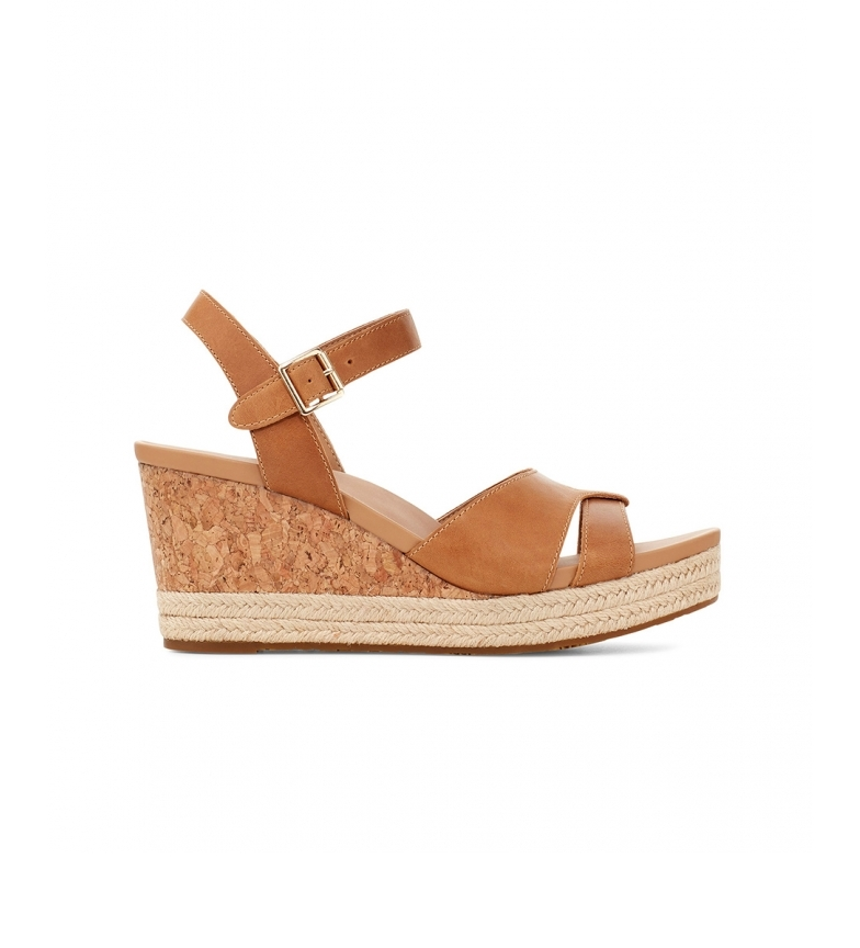 Comprar UGG Cloverdale brown leather sandals -Height of the wedge: 7cm