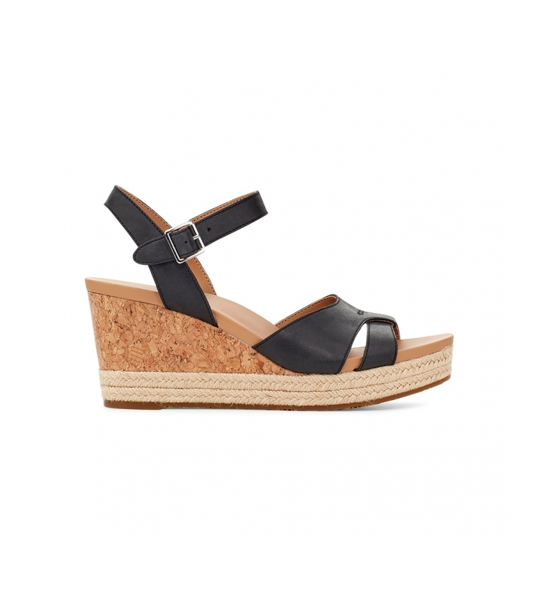 Comprar UGG Sandálias de couro preto Cloverdale -Altura da cunha: 7cm