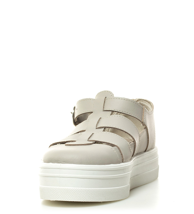 plataforma Altura 4cm Zapatillas beige piel de Victoria xTqXII