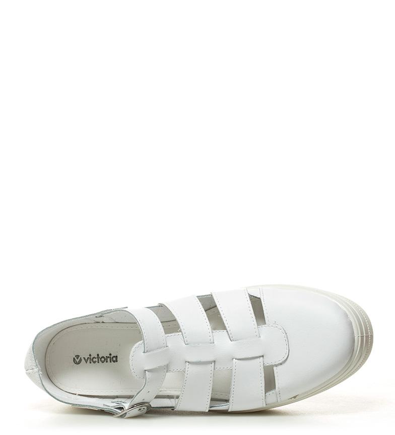 plataforma blanco 4cm Altura Victoria piel Zapatillas de wtYn1wq8Xf