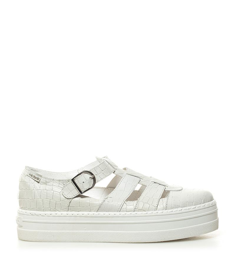 Comprar Victoria Chinelos de couro branco - Altura da plataforma: 4cm