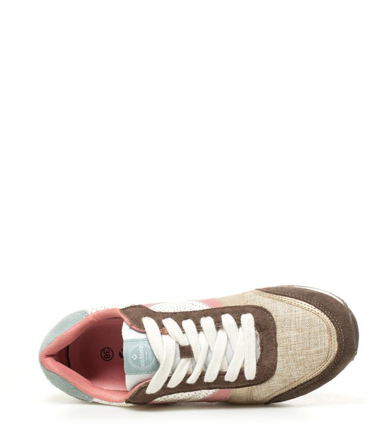 Zapatillas piel beige Victoria combinadas dorado de 4qPWnZ6g