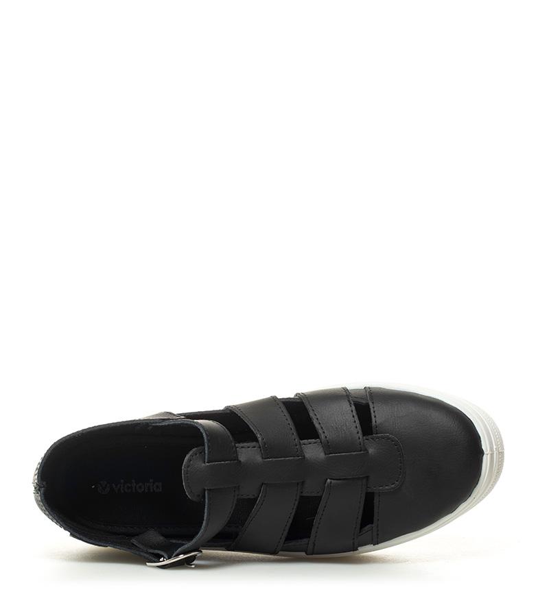 plataforma Victoria de 4cm Altura negro piel Zapatillas w7AXq74f