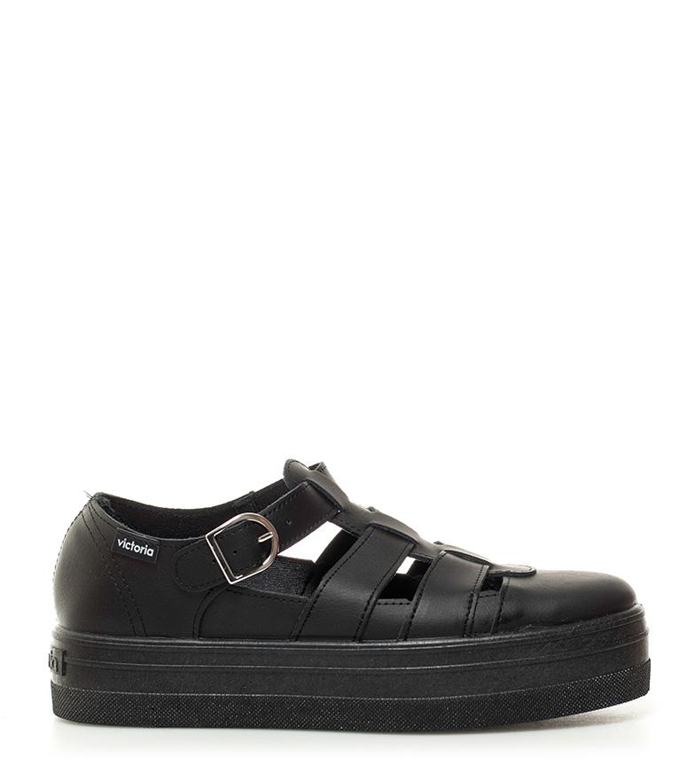 Victoria Zapatillas de piel negro Altura plataforma: 4cm