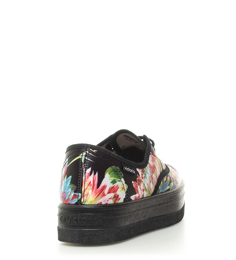 Victoria Victoria negro plataforma floral 4cm Zapatillas Altura Zapatillas qZxwB