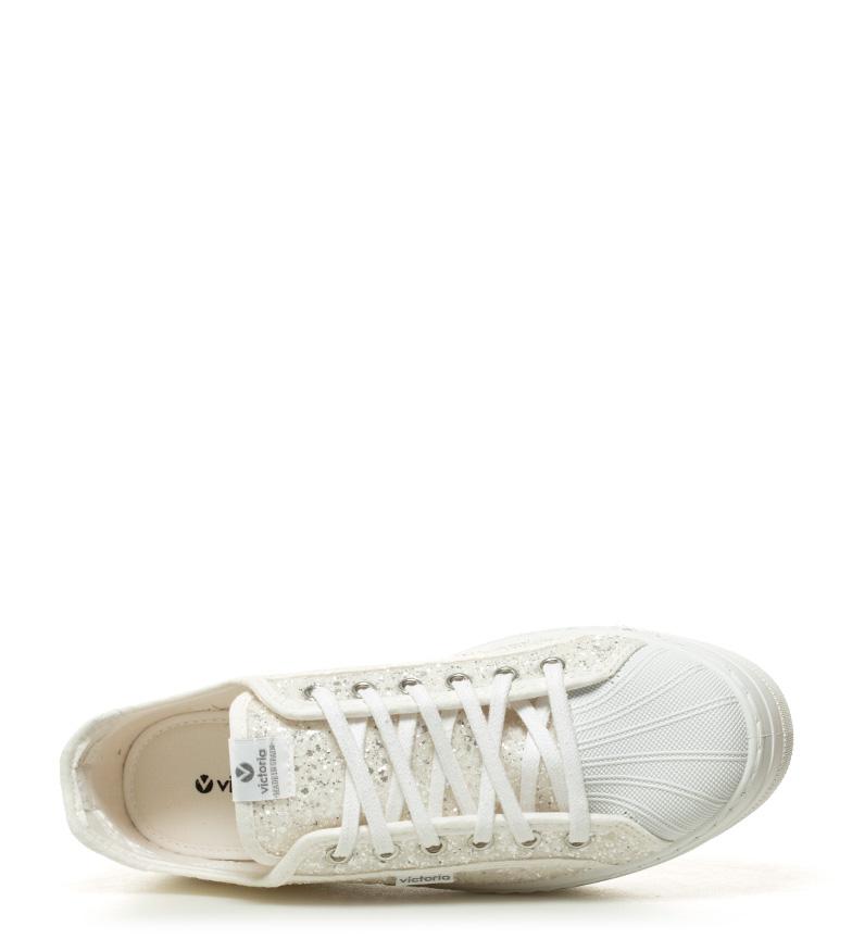 blanco Altura Zapatillas Victoria plataforma glitter 4cm Pqvw80n6