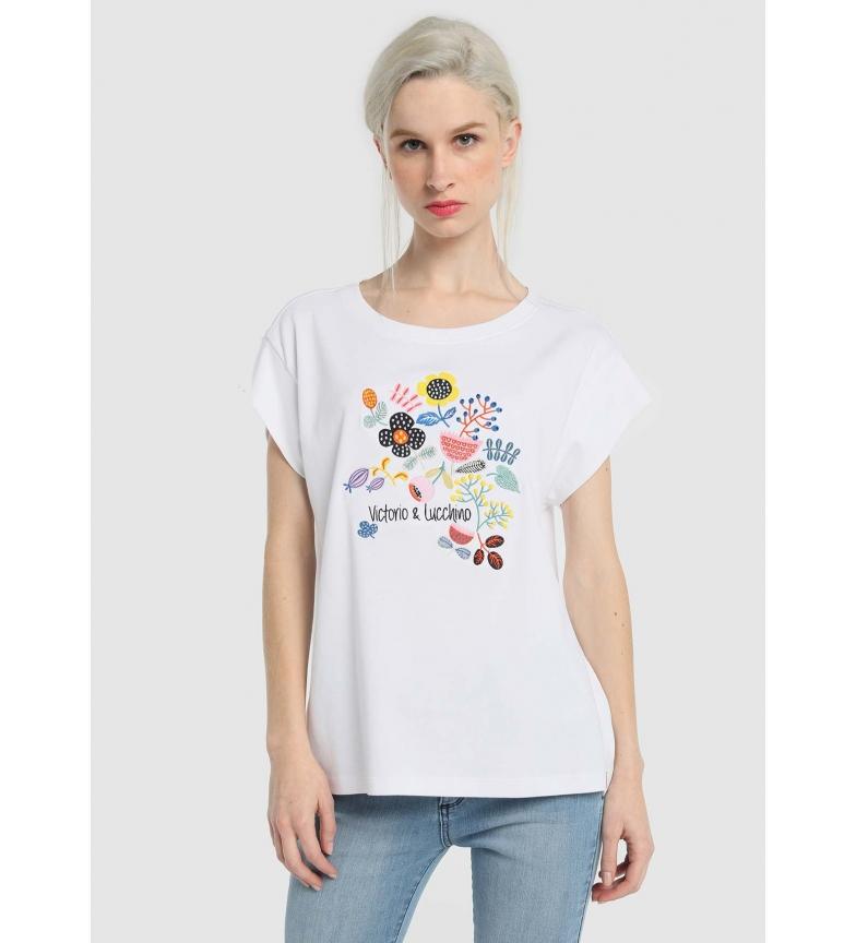 Comprar Victorio & Lucchino, V&L Camiseta Flores Selvagens branca
