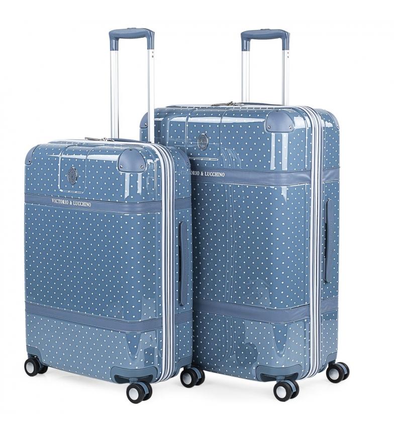 Victorio & Lucchino, V&L Conjunto de 2 malas Polka Dots 80100 azul - 44x64x25cm