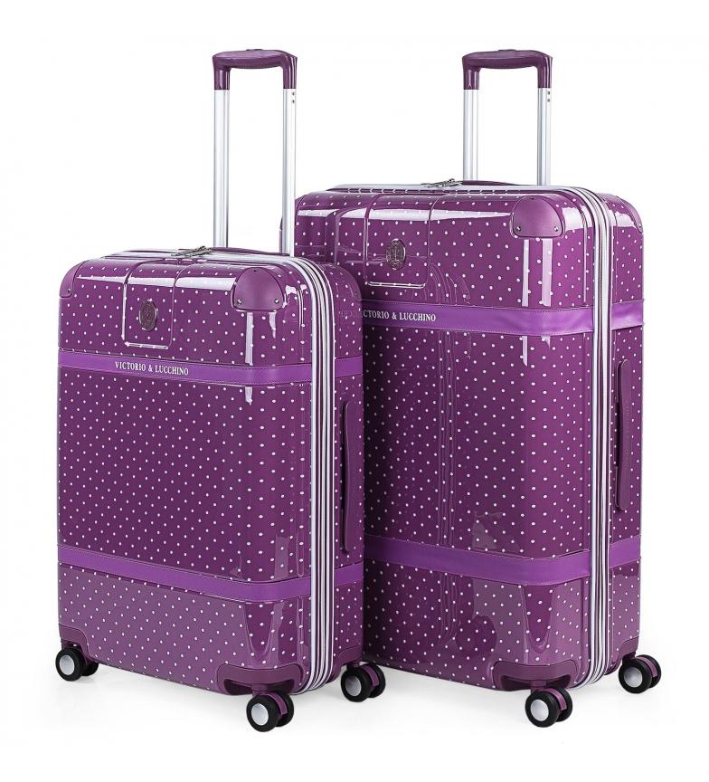 Victorio & Lucchino, V&L Lot de 2 valises Polka Dots 80100 lilas - 44x64x25cm