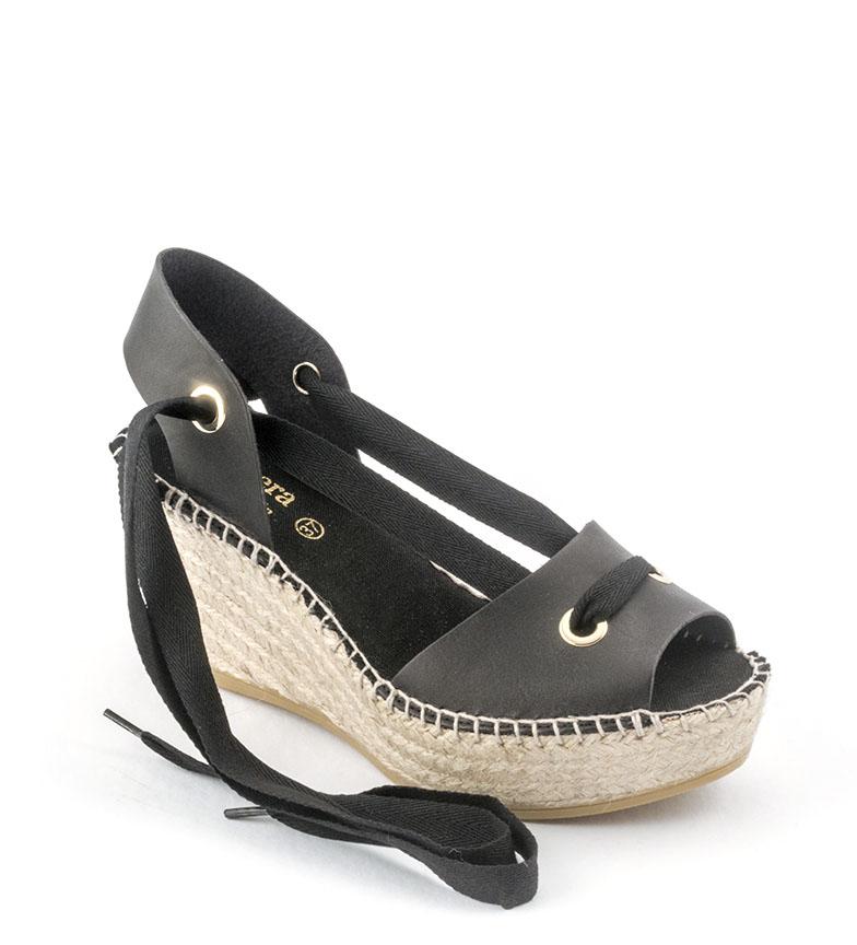 Comprar Viguera Espadrilles en cuir 1619 noir - hauteur de la cale : 7,5cm