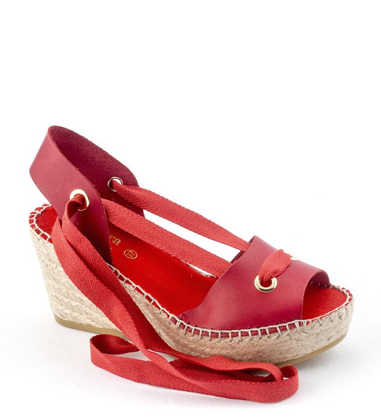 Comprar Viguera Espadrilles en cuir 1619 rouge - Hauteur de la cale : 7,5cm
