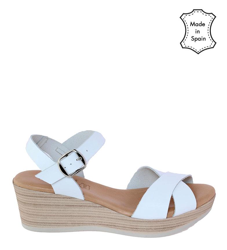 Comprar VISANZE Sandalias de piel Maite blanco -Altura cuña: 6cm-