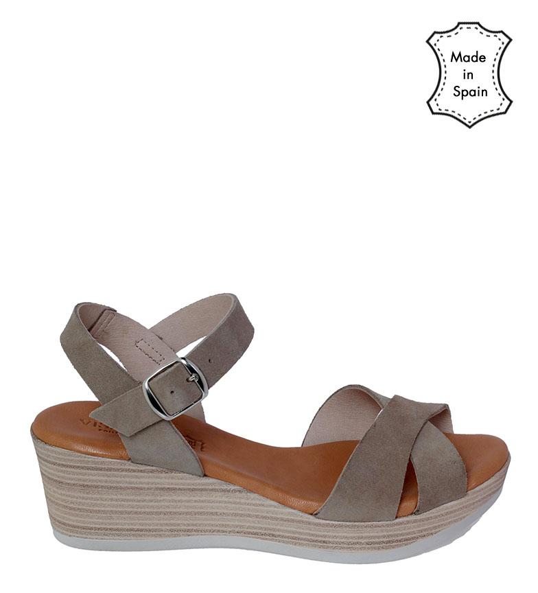 Comprar VISANZE Sandálias de couro de pedra Maite - Altura da cunha: 6cm