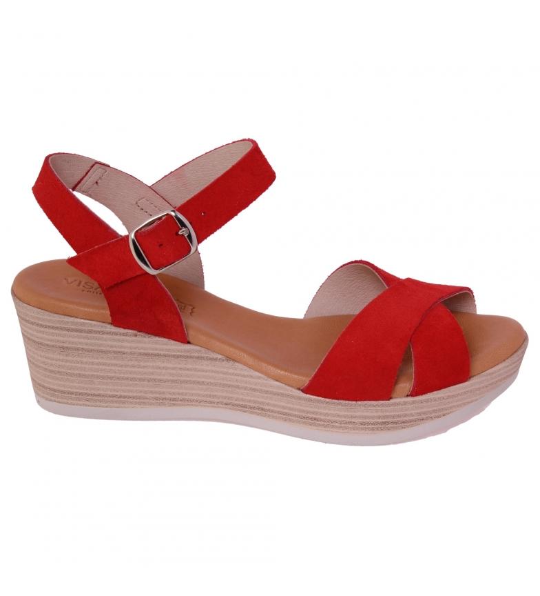 Comprar VISANZE Sandálias de couro vermelho Maite - Altura da cunha: 6cm