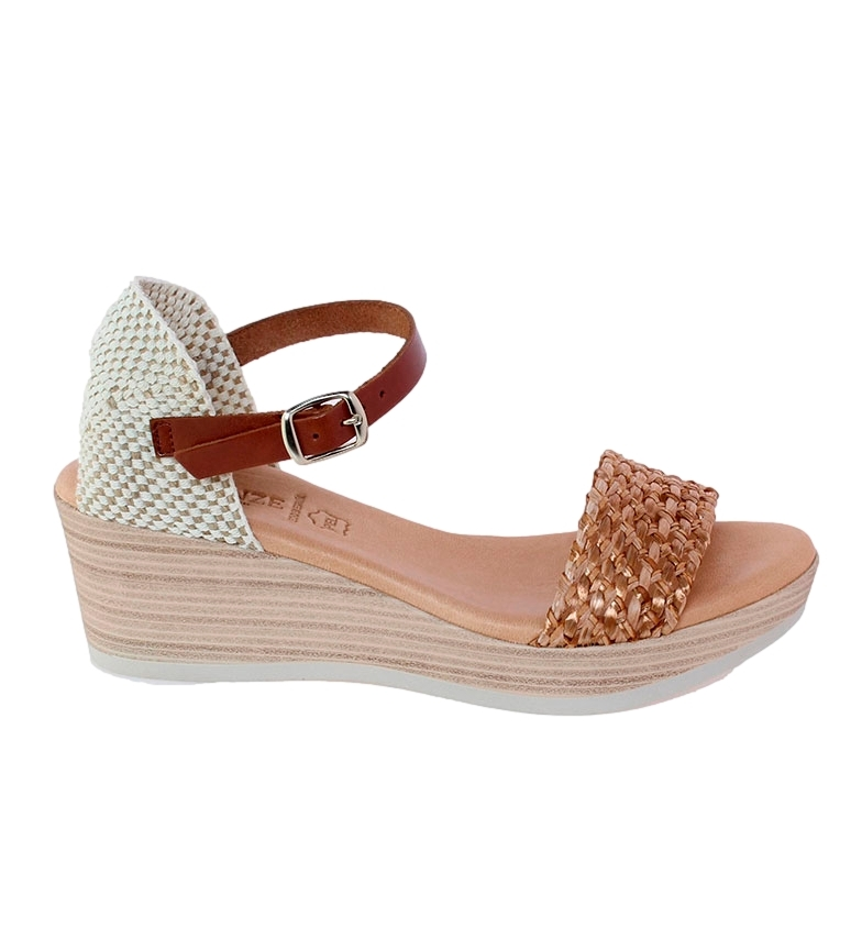 Comprar VISANZE Sandalias de piel Delia marrón -Altura cuña: 6cm-