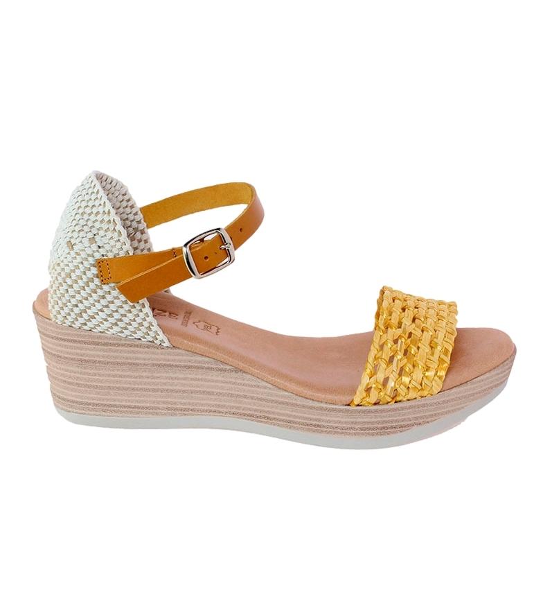 Comprar VISANZE Sandálias de couro amarelo Delia - Altura da cunha: 6cm