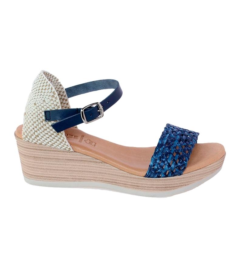 Comprar VISANZE Sandalias de piel Delia azul -Altura cuña: 6cm-