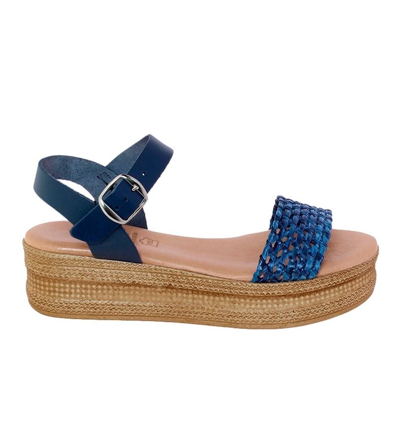 Comprar VISANZE Sandali Antonia in pelle blu - Altezza plateau: 5cm-