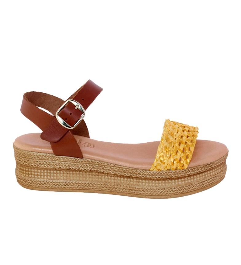 Comprar VISANZE Sandalias de piel Antonia marrón, amarillo -Altura plataforma: 5cm-
