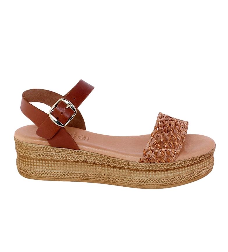 Comprar VISANZE Sandalias de piel Antonia marrón -Altura plataforma: 5cm-