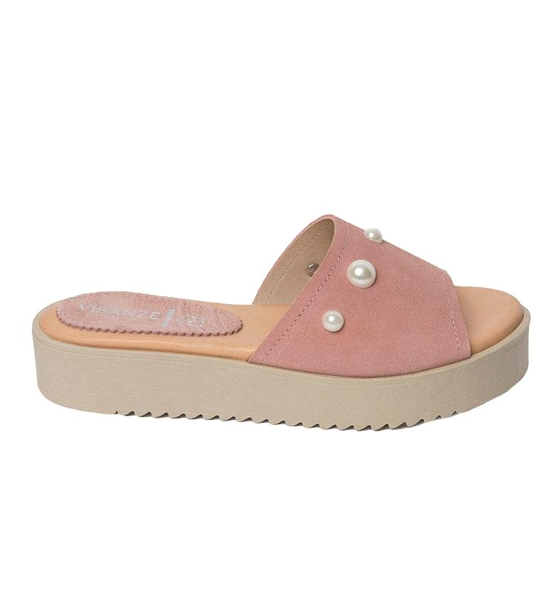 Comprar VISANZE Sandalia de piel Alicia rosa -Altura plataforma: 3.5cm-
