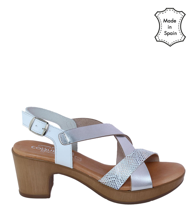 Comprar TT COQUETTE Paula leather sandal white, silver -heel height: 6cm