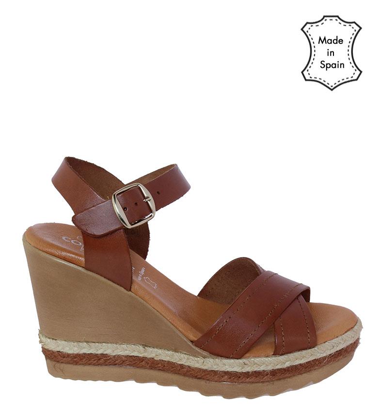 Comprar TT COQUETTE Cristina brown leather sandal - Wedge height: 10cm