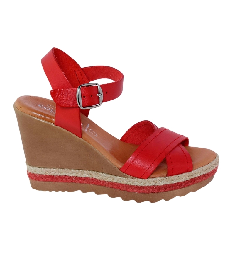 Comprar TT COQUETTE Cristina red leather sandal - Wedge height: 10cm