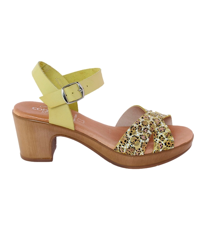 Comprar TT COQUETTE Raquel yellow leather sandal -heel height: 6cm