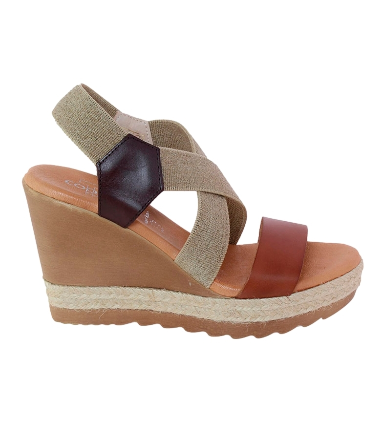 Comprar TT COQUETTE Andrea brown leather sandal - Wedge height: 10cm