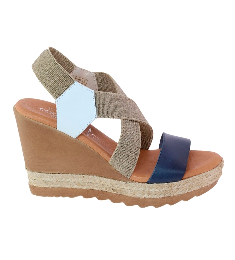 Comprar TT COQUETTE Andrea marine leather sandal - Wedge height: 10cm