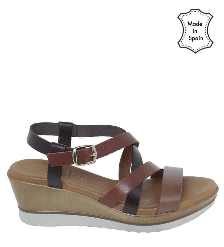 Comprar VISANZE Sandálias de couro 20032 castanho - altura da cunha 6cm-