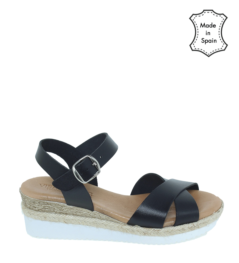 Comprar VISANZE Sandálias de couro 20036 preto - altura da cunha 5cm