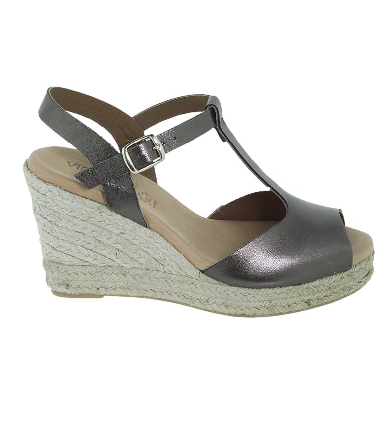 VISANZE Sandalias de piel laminado 20052 gris -Altura cuña 9cm-