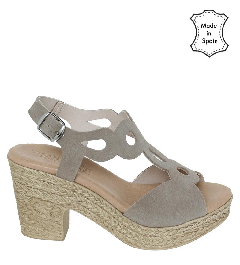 Comprar VISANZE Leather sandals 20030 grey -heel height 8cm