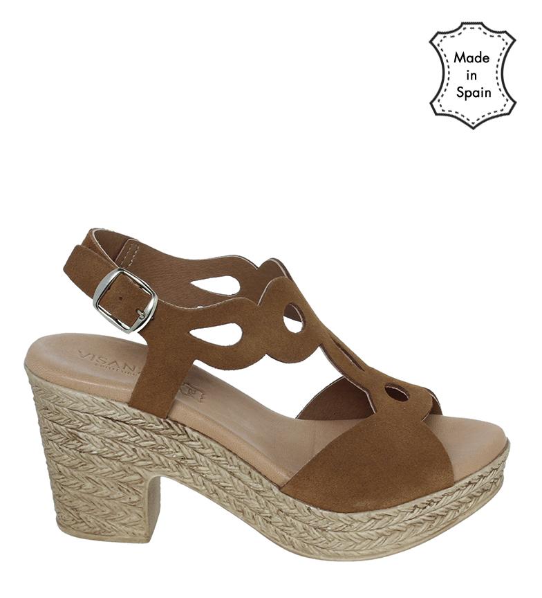 Comprar VISANZE Leather sandals 20030 brown -heel height 8cm