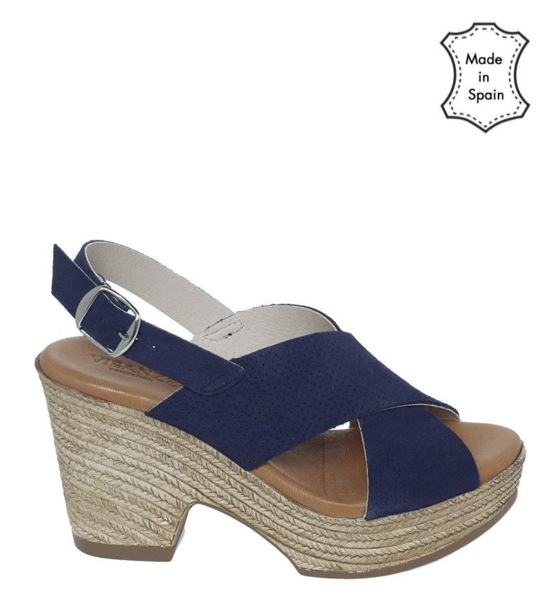 Comprar VISANZE Sandalias de piel serraje 20042 azul -Altura tacón 9cm-