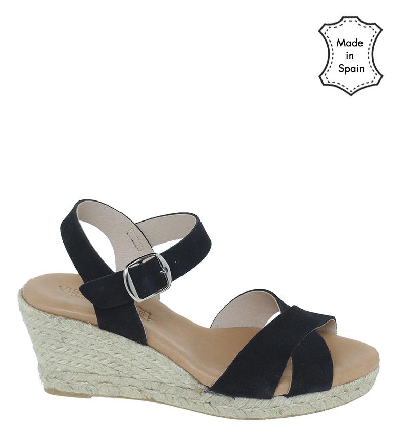 Comprar VISANZE Sandálias de couro rachadas 20054 preto - altura da cunha 7cm