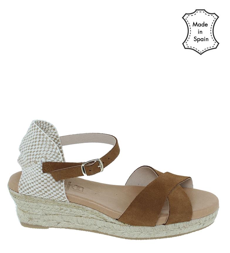 Comprar VISANZE Brown split leather sandals 20056 - wedge height 5cm