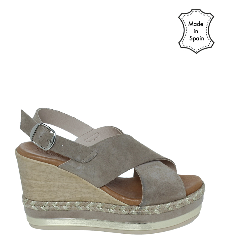 Comprar VISANZE Sandali in pelle crosta 20058 pietra - altezza cuneo: 9cm