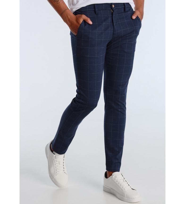 Victorio & Lucchino, V&L Pantaloni chino in maglia a quadri blu navy
