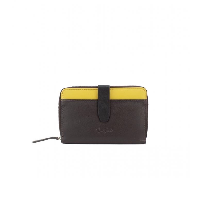 Vogue Portafoglio in pelle marrone Bette -8,5x13,5cm-