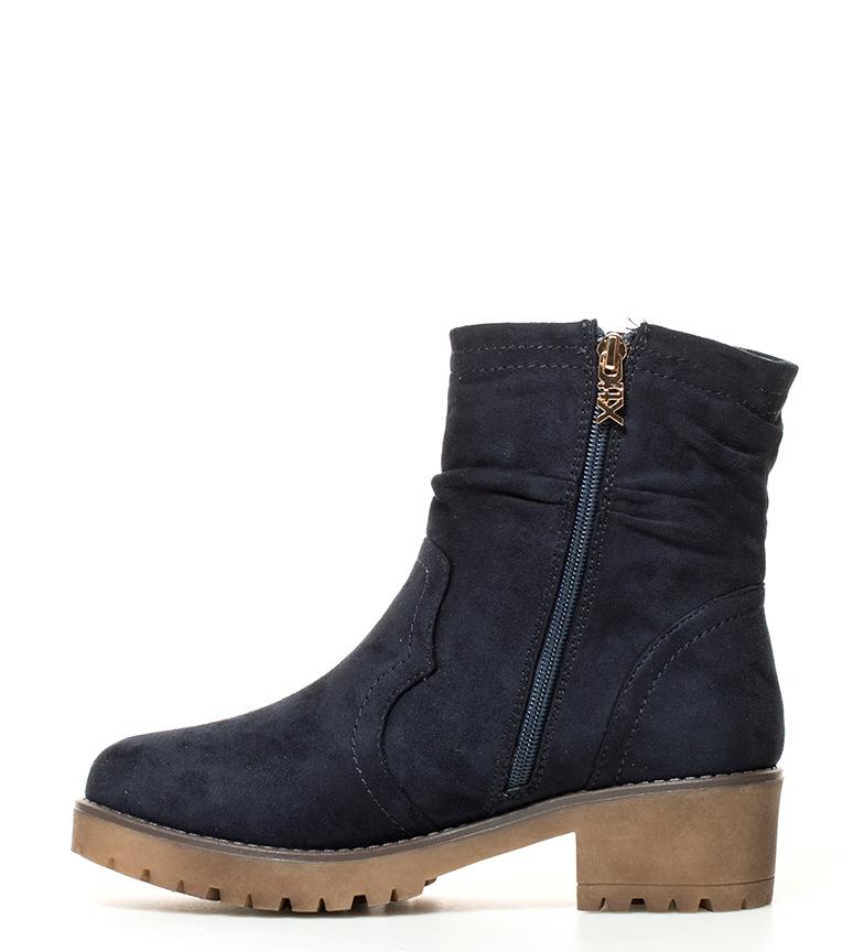 Xti-Botines-Andrea-Mujer-chica-Azul-Marron-Negro-Tela-3-a-5cm-5-a-8cm