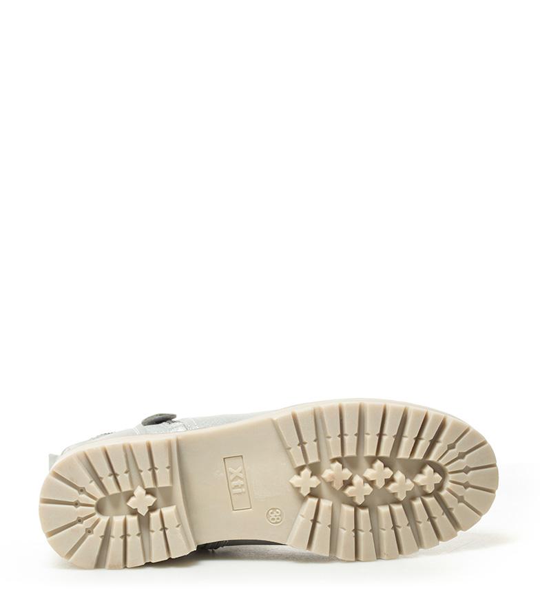 Xti-Botines-Gala-Mujer-chica-Plata-Beige-Plano-1-a-3cm-Cremallera-Casual miniatura 15