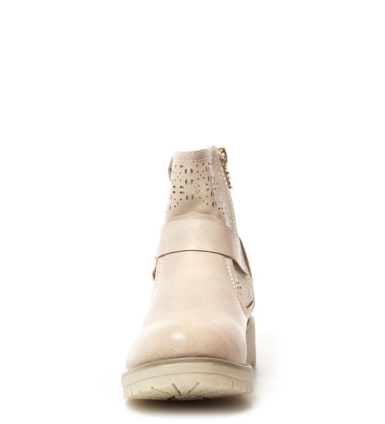 Xti-Botines-Gala-Mujer-chica-Plata-Beige-Plano-1-a-3cm-Cremallera-Casual miniatura 5