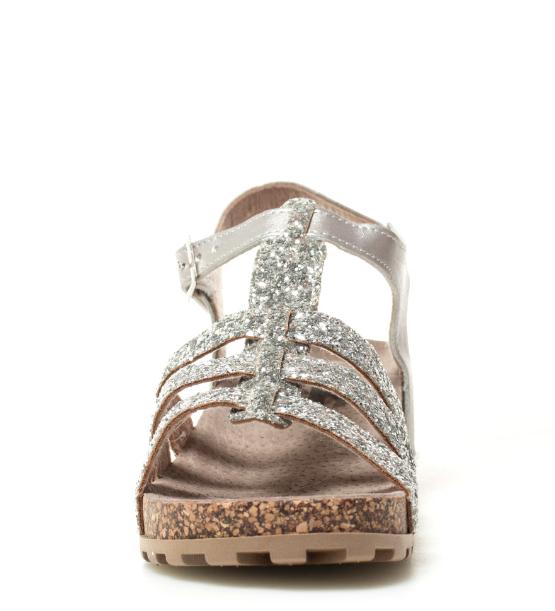 4cm Glita cuña plata Altura Sandalias Refresh qw8C7p