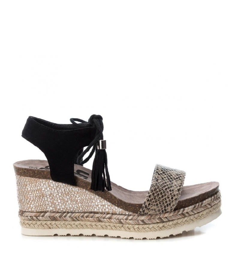 Comprar Refresh Snake print wool leather sandals - Wedge height: 8cm