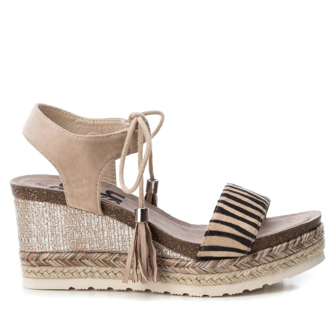 Comprar Refresh Zebra print wool leather sandals - Wedge height: 8cm